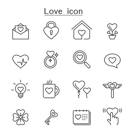 Illustration pour Love icon set in thin line style - image libre de droit