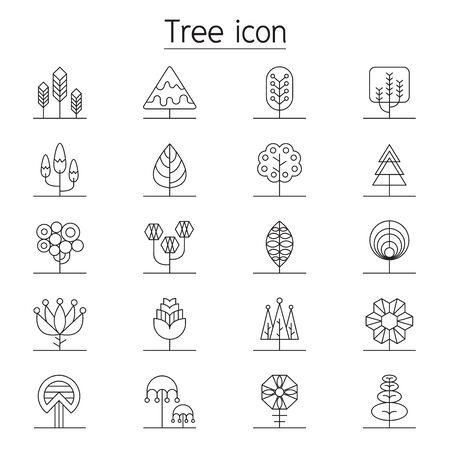 Illustration pour Tree icon set in thin line style - image libre de droit