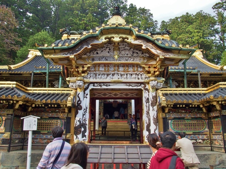 NIKKO, JAPAN - OCTOBER 25, 2014: Unidentified people visit Karamon gate in Tosho-gu Shrine. Tosho-gu is part of a UNESCO World Heritage Site, group of very important temples in Japan.