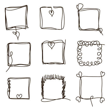Illustration pour Set of hand drawn scribble quadrangles. Collection of abstract square frames in doddles style. Square design element. Continuous line. Vector. Isolated on white background. - image libre de droit