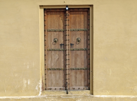 Classic wooden door in Jantar Mantar Astronomical Observatory, Jaipur, India