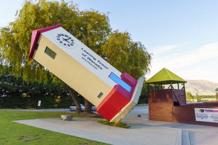 WANAKA, NEW ZEALAND -MAY 7, 2016: Leaning Tower of Stuart Landsborough's Puzzling World in Wanaka, NZ. Puzzling World offers the 3-D Great Maze, Illusion Rooms and the intriguing Psychic Challenge.