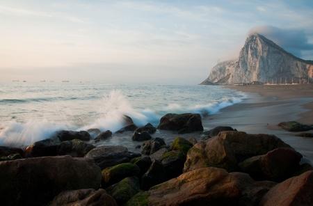 A spanish beach boardering Gibraltar
