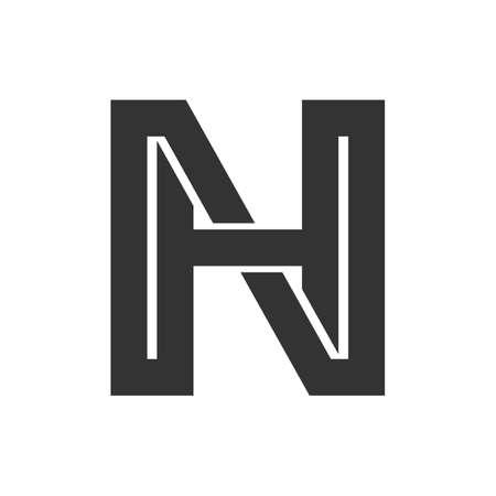 Ilustración de Creative abstract letter hn design. Linked letter nh design. - Imagen libre de derechos