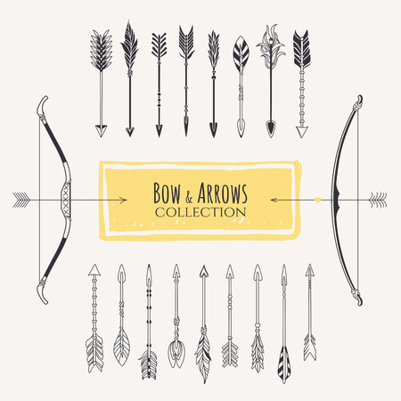 Decorative bows and arrows collection.