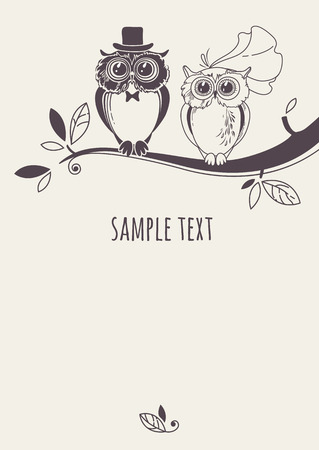 Template card with a couple of owls on a tree branch. Greeting card. Wedding invitation.