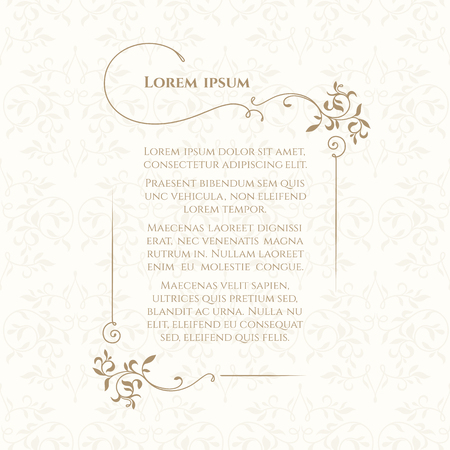 Illustration pour Border and classic seamless pattern. Template for greeting cards, invitations, menus, labels. Graphic design page. - image libre de droit