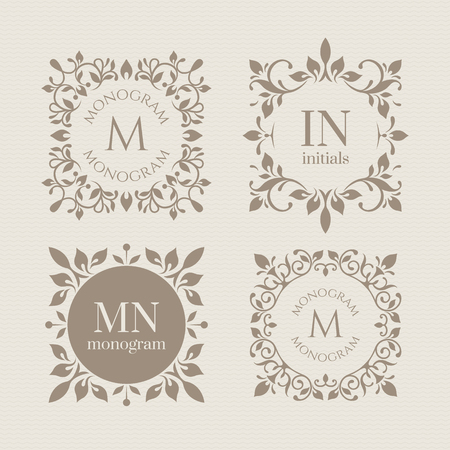 Illustration pour Floral monograms for cards, invitations, menus, labels.  - image libre de droit