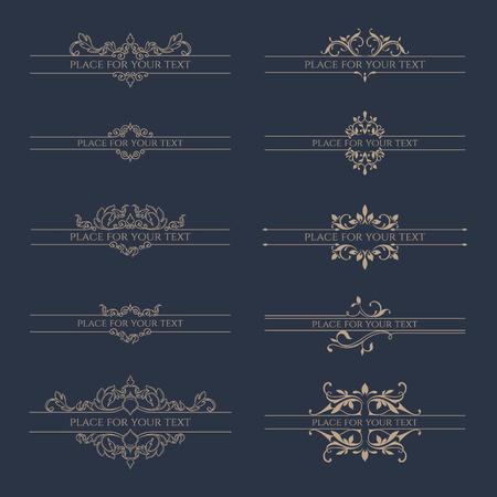 Illustration pour Set of decorative borders for labels, invitations, banners, posters, badges, cards. Design Elements. - image libre de droit