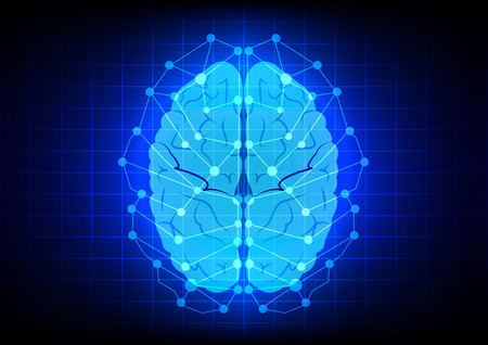 Abstract brain concept  on blue background technology