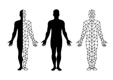 vector body isolate and body mesh. illustration vector.
