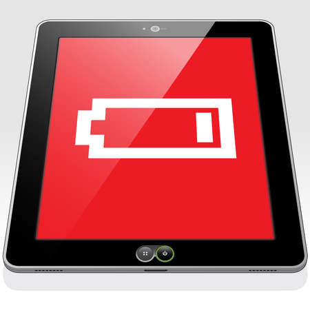 Vektor für A Tablet PC with a very low, almost empty battery power charge icon on screen. - Lizenzfreies Bild