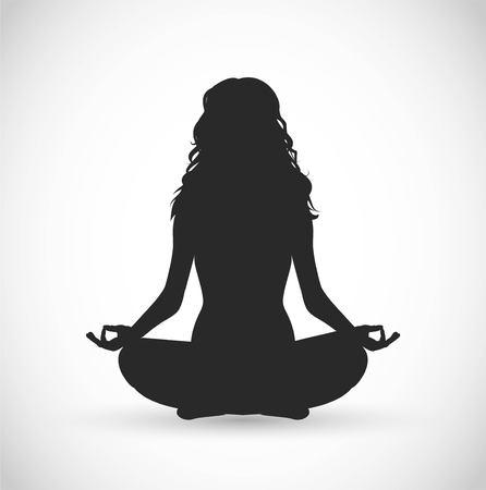 Illustration pour Woman with long hair meditation vector illustration - image libre de droit