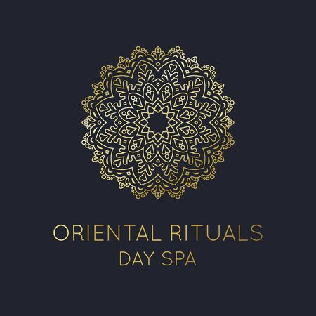 Illustration for Oriental Logo, Gold Mandala template for Oriental Day Spa Logo and other Oriental Brands vector - Royalty Free Image