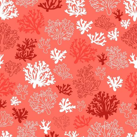 Illustration pour Coral seamless vector pattern with color of the year 2019 - living coral color palette - image libre de droit