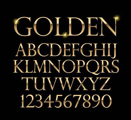 Illustration pour Luxurious gold alphabet vector on black background - image libre de droit