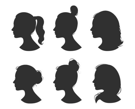 Ilustración de Beautiful collection of profile woman heand with different hairstyles vector - Imagen libre de derechos