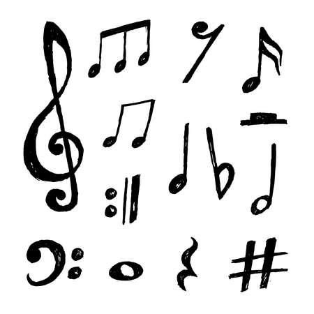 Illustration pour Beautiful collection of hand drawn vector music notes - image libre de droit