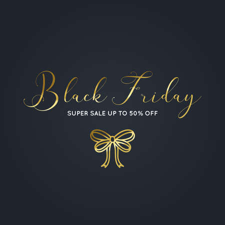 Illustration for Beautiful Black Friday gold banner with a bow vector - Royalty Free Image