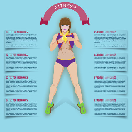 info graphics health diet. Business woman at the gym.
