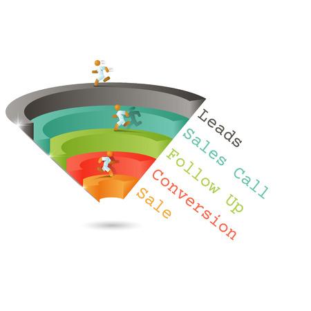 Vektor für Sales funnel for infographics on a gray background 3D. Vector illustration. - Lizenzfreies Bild