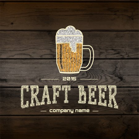 Craft beer badges  labels for any use,  templates and design elements for beer house, bar, pub, brewing company, brewery, tavern, restaurant, on wooden background texture