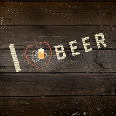 I love beer badges   labels for any use,  templates and design elements for beer house, bar, pub, brewing company, brewery, tavern, restaurant, on wooden background texture