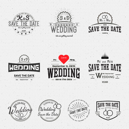 Wedding badges cards and labels, can be used to design wedding cards, presentations, invitations,