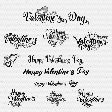 Illustration pour Happy valentines day lettering options It can be used to design greeting card - image libre de droit