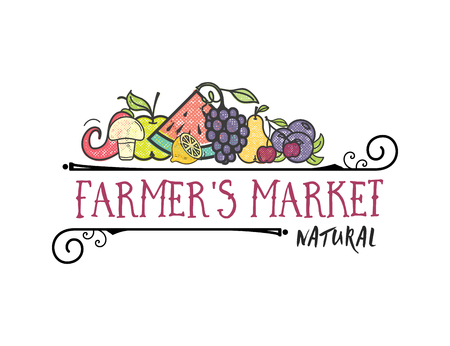 Foto per Fruits and vegetables, vegetarian banner Farmers market, isolated color vector icons. - Immagine Royalty Free