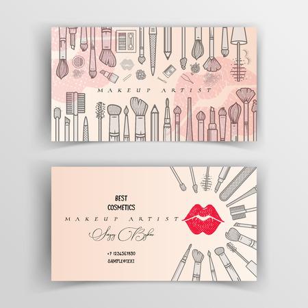 Illustration pour Makeup artist business card. Vector template. - image libre de droit