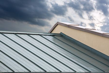 Photo for New corrugated metallic gray roof of new house - Royalty Free Image