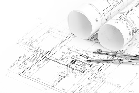 Photo for architectural drawings with floor plan and drawing compass - Royalty Free Image