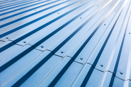 Photo for blue corrugated metal roof with rivets, industrial background - Royalty Free Image