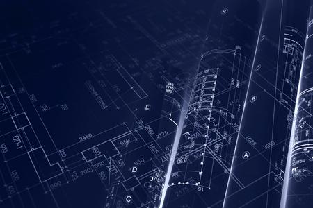 Photo pour house project plan, blueprint rolls for civil engineering background. blue toned image. double exposure. - image libre de droit