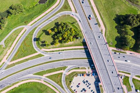 Photo for aerial top view of asphalt road intersection. city highway in sunny day. drone image - Royalty Free Image