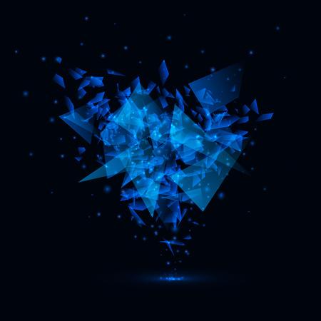 Blue techno style vector explosion.