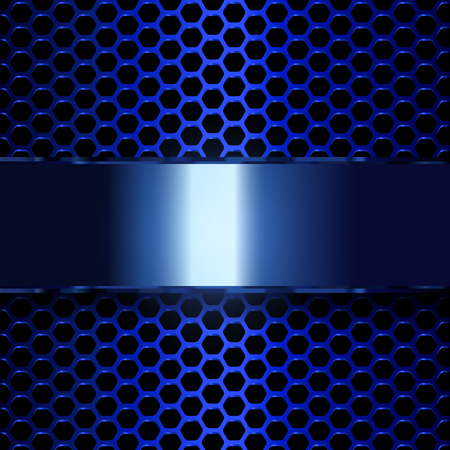 Geometric pattern of hexagons with blue metallic banner. EPS10