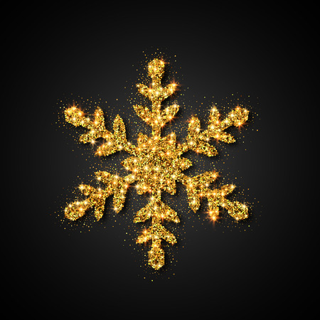 Gold Glitter Snowflake. Christmas, New Year greeting card.