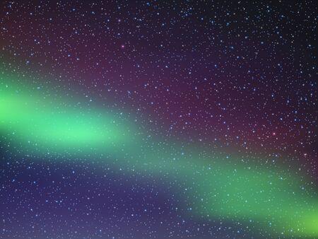 Illustration pour Night sky with stars. Northern lights. Vector illustration EPS10 - image libre de droit