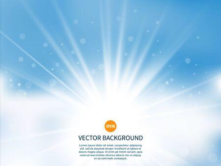 Illustration pour Sun with rays. Sunny background. Glow light effect. Summer time. Vector illustration EPS10 - image libre de droit