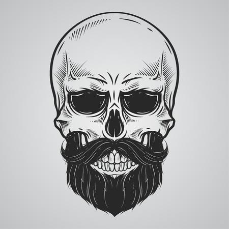 Ilustración de Bearded skull illustration - Imagen libre de derechos