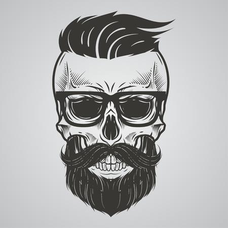 Illustration pour Bearded skull illustration - image libre de droit
