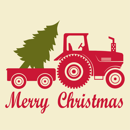 Ilustración de Christmas tractor with a trailer and a tree - Imagen libre de derechos
