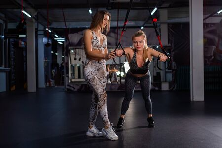 Women Doing Push Ups Training Arms With Trx Straps. Personal training. A female trainer in the gym for circular training monitors the correct implementation of loop exercises.