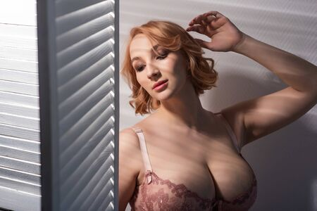 Photo pour A beautiful young woman with very large natural breasts is standing by the window with shutters. A girl in pink lace shows a beautiful figure next to a white screen. Huge female boobs. - image libre de droit