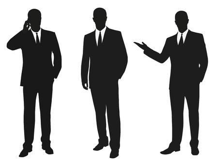 Illustration pour Set of business men. Vector isolated silhouettes - image libre de droit