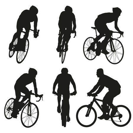Illustration pour Cycling silhouettes, set of vector cyclist - image libre de droit