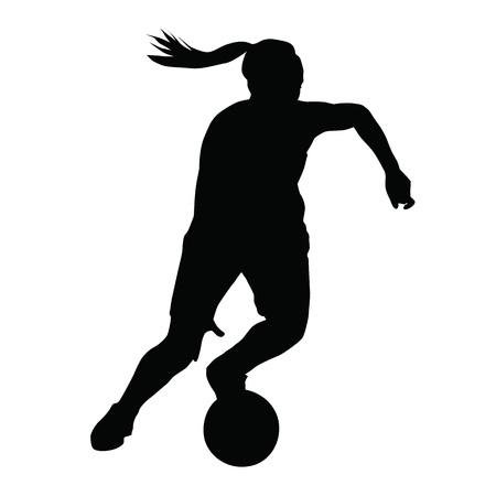 Ilustración de Basketball player vector silhouette, woman, girl, running with ball - Imagen libre de derechos