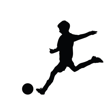 Illustration for Young soccer player kicking a ball, isolated vector silhouette footballer. Kid, young boy. Team sport - Royalty Free Image